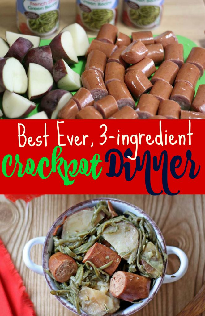 3-ingredient Crockpot Sausage Dinner | Spoonful of Easy #crockpotrecipes #slowcookerrecipes #easydinnerrecipes