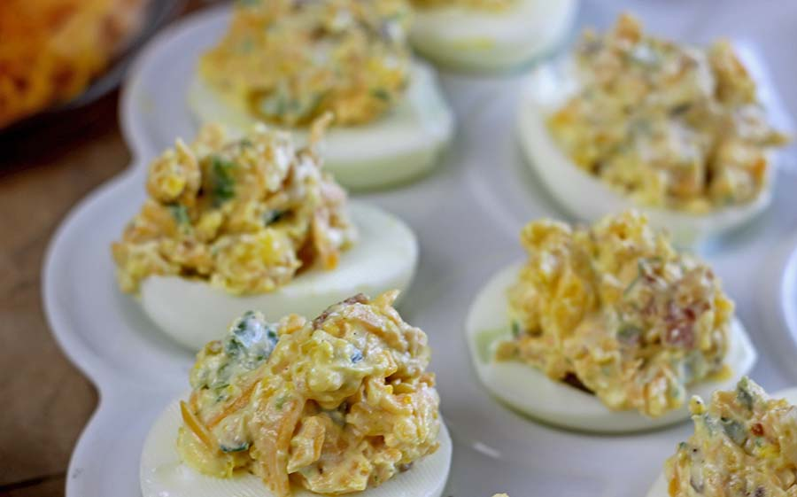 Bacon, Egg & Cheese Deviled Eggs