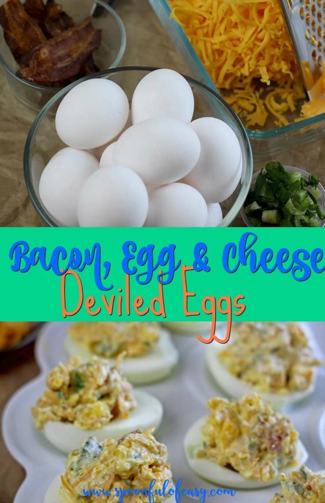 Bacon, Egg & Cheese Deviled Eggs | Spoonful of Easy #deviledeggs