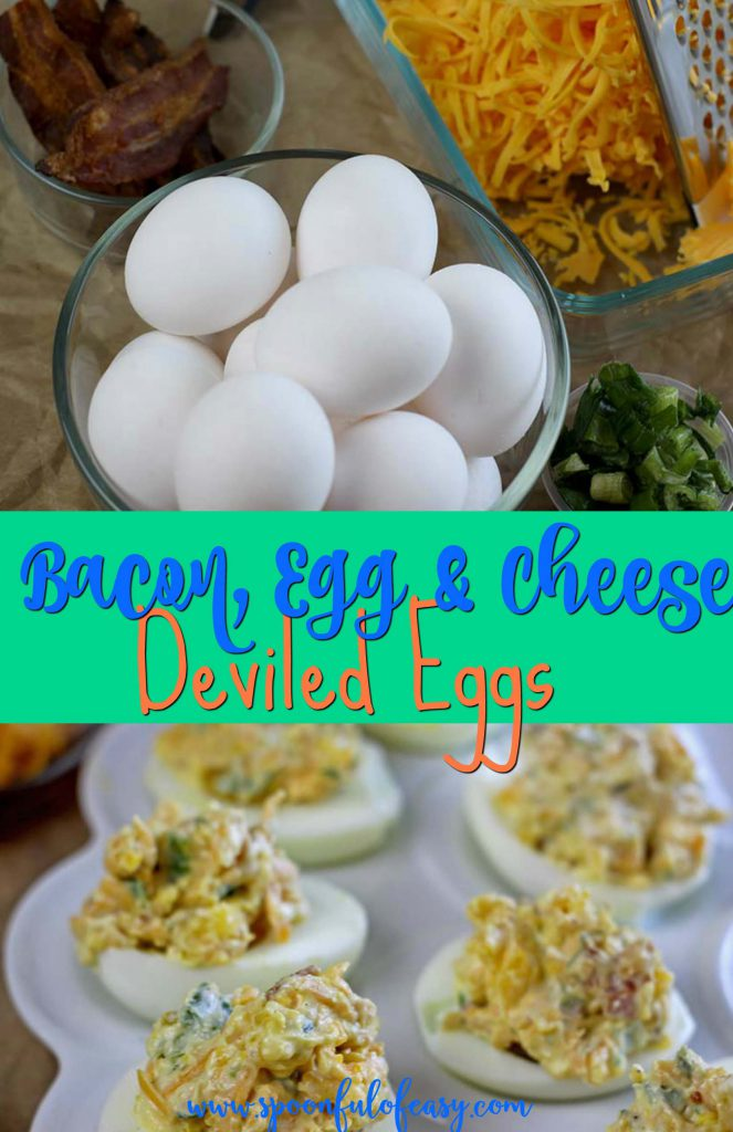 Bacon Egg & Cheese Deviled Eggs | Spoonful of Easy #deviledeggs