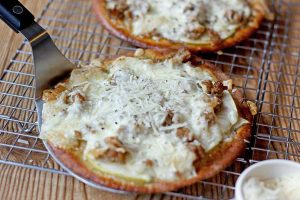 Sausage Apple Pita Pizzas