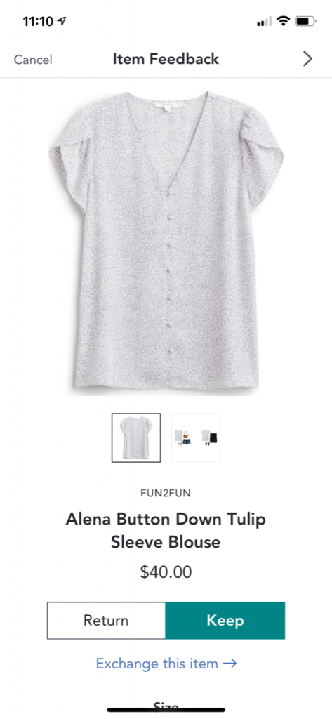gray, tulip-sleeved floral button top